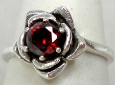 NATURAL .50ct red garnet antique 925 sterling silver flower ring size 7 USA made