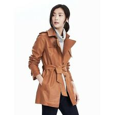 Banana Republic Womens Heritage Leather Cropped Trench, Cognac SIZE M    #308835