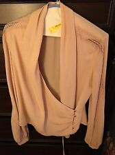 BEBE WRAP LONG LACE INSET SLEEVE TOP BLUSH BLOUSE MSRP$98 MEDIUM M 6-8