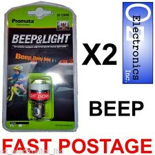 2 x Reversing Beeper Light Car Caravan BEEP & LIGHT Promata P21W BA15S NEW 12V
