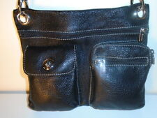 ROOTS BLACK ALL LEATHER  VILLAGER  3 POCKET  MESSENGER  - MINT -$158 RETAIL