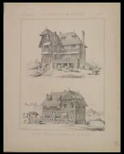 VILLA A HOULGATE - 1886 - 2 PLANCHES ARCHITECTURE - PAPINOT
