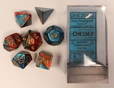 Chessex 7 Dice Set Gemini Red-Teal w/ Gold CHX 26462 for D&D & D20