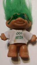 """Vintage Troll Doll 3"""" Russ St. Patrick's Day """" 100% Irish """" with Glasses"""