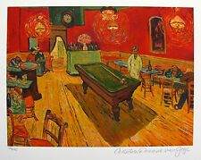 VINCENT VAN GOGH Estate Signed Small Giclee THE NIGHT CAFE BILLIARD REC ROOM