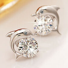 Womens Cute White Crystal Eyes Dolphin Stud Earrings Silver Plated Party Jewelry