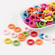 100pcs Mixed Color Donut Wood Beads Circle Round Hole DIY Jewelry Dyed X-TB233Y