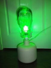 """Vintage GLASS MANNEQUIN PORTABLE HEAD LAMP CLEAR GREEN 20"""" TALL Made in Poland"""