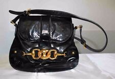 Authentic GUCCI Patent Leather Horsebit Flap Over Purse MSCBX