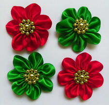 Christmas Green + Red Satin Ribbon Flower w/ Golden Beads-4 pcs-R0023GR