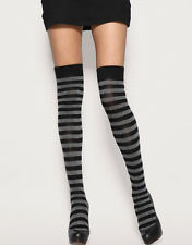 New Ladies Funky Grey And Black Stripe Teens Over The Knee Sock Fancy Dress