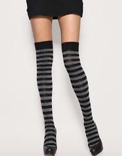 New Ladies Funky Grey And Black Stripe Teens Over The Knee Sock Fancy Dress