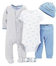 NWT Baby Carter's Shark Bodysuit 4 PC Set  Preemie Boy Layette Blue