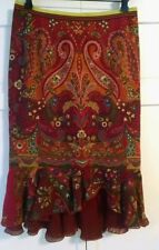 Etro paisley thin wool skirt/silk blend liner with tiered hem, NWOT 42