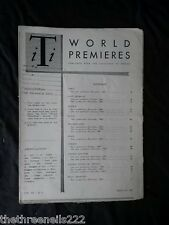 INTERNATIONAL THEATRE INSTITUTE WORLD PREMIER - FEB 1961 VOL 12 #5