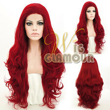 "Long Curly Wavy 28"" Dark Red Lace Front Wig Heat Resistant"