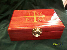 Orthodox Christian  NIKA Lacquered Chotki & Reliquary Box Cherry Stain Ship Inc
