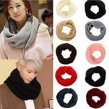 Women Winter Warm Infinity 1 Circle Cable Knit Cowl Neck Long Scarf Shawl Red JP