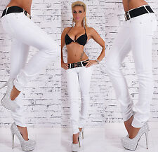 Sexy Women's Low Cut Jeans Hipster Skinny Jeans White Pants +Belt Size 6-14