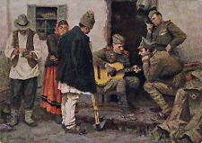 1958 RARE SOCIALIST REALISM Soldiers with guitar Glandin Russian Soviet postcard