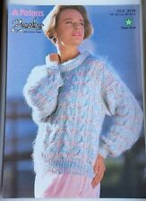 Vintage Patons Knitting Pattern No 3778 Lady's Cable Sweater * Easy Knit *