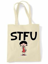 STFU SHOULDER  TOTE BAG - Shut The F**k Up Text Language Facebook Twitter