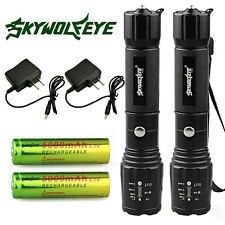 2x Tactical Police 8000LM CREE XM-L T6 LED Flashlight Torch +Battery +Charger US