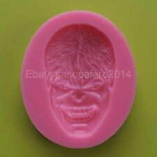 Hulk face superhero silicone mold for fondant, chocolate, soap, clay, resin.