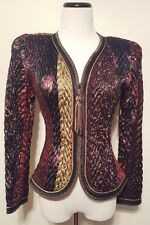 Vintage Jeanne Marc Fit & Flare Quilted Zipper Up Tassel Rich Colors Sz 8/10