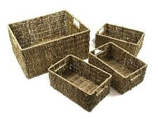 4 Set Rectangle Seagrass Basket Storage Vintage Rustic Decorative Shabby