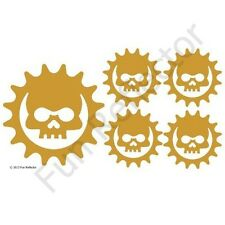 Gold Skull Cog Bicycle Reflective Stickers Decals