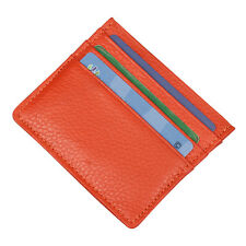 Genuine Real Leather Slim Thin Credit Card Holder Mini ID Case Wallet Orange DY