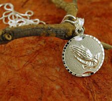 Necklace with Small Praying Hands Pendant-Sterling Silver-Religious Gift!!!