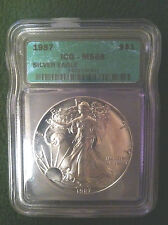 1987 ICG MS68 SILVER AMERICAN EAGLE 1 OZ BULLION COIN
