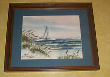 ZOIE CAMPBELL WATER COLOR PAINTING SAILBOAT SAILING REGATTA CUTTER SLOOP BOAT FL