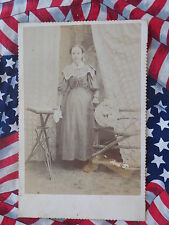 RARE CABINET CARD PHOTOGRAPH UNUSUAL WOOD CHAIR GHOST IMAGE AT BOTTOM OF CARD