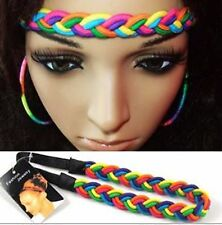 Women Girl Rainbow Colorful Elastic Braided Bohemian Hair head band Headband