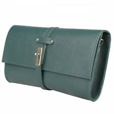 MADE IN ITALIA - ITALIAN MADE LEATHER CLUTCH BAG IN FOREST GREEN 25,000+ F/BACK