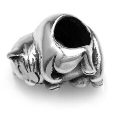 925 Sterling Silver Happy Napping Cat w/ Tucked in Paws European Charm Bead