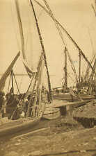 1900s small black & white photo -  fishing boats at luxor