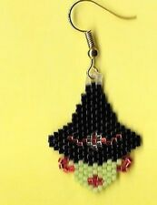 Hand beaded Black hat green face Witch head dangle earrings.