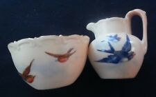 Antique Royal Worcester Miniature Creamer & Sugar Bowl Swallow Birds Powell 1897