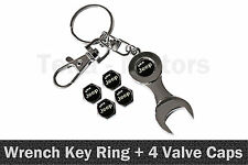 Jeep Spanner Wrench Key Ring Chain Keyring + 4 Tyre Tire Valve Caps /1109