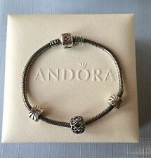 "Authentic PANDORA SS Oxidized Clasp 7.5"" Bracelet w/Clips, Charm & Box!!!"