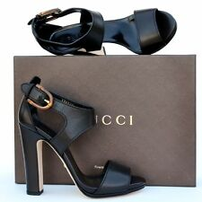 GUCCI New sz 39 - 9 Auth Designer Bamboo Womens Sandals Heels Shoes $795 black