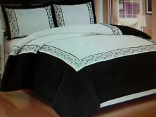 New KING Size Comfort & Shams ** Black & White Embroidered