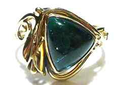 NVD NOUVEAU INSPIRED 14K GOLD BLUE TOURMALINE FLOWER WOMENS RING SIZE 9