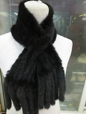 /New women 's  Fashion /real mink fur knitted Double tassel scarf /Black