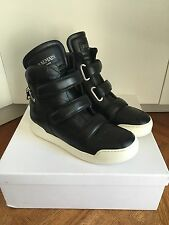 Balmain $1250 Black Leather High Top Sneakers In Size 41--8 US ! New !
