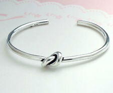 925 Sterling Silver Knot Bangle Cuff Bracelet 3mm.